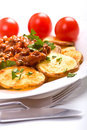 Potatoes With Meat Tomato Sauce Royalty Free Stock Photography - 7777237