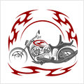 Flaming Bike - Retro Chopper And Tribal Flame Stock Photos - 77705653