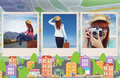 Composite Image Of Hipster Woman Sitting On Her Suitcase Stock Photo - 77724920