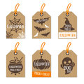 Set Of Retro Halloween Gift Tags Cardboard Texture Stock Images - 77773634