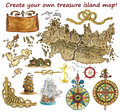 Set For Treasure Island Map Isolated Royalty Free Stock Photography - 77791337