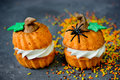 Halloween Pumpkin Recipe - Orange Cupcakes In The Shape Of Pumpk Royalty Free Stock Image - 77815676