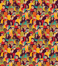 Big Crowd Happy People Color Seamless Pattern. Stock Photography - 77840472