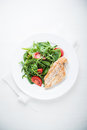 Chicken Breast And Fresh Salad With Tomato And Greens Royalty Free Stock Photos - 77853338