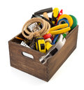Set Of Tools And Instruments In Toolbox Stock Image - 77853891