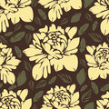 Abstract Flowers Seamless Pattern. Vintage Floral Background. Yellow Buds And Leaves On A Brown . For The Fabric Design, Wallpaper Stock Image - 77856971