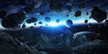 Gigantic Asteroids About To Crash Earth 3D Rendering Elements Of Stock Images - 77864024