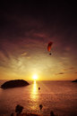 Skydiver Flies Over The Sea On The Background Of Sunset Vertical Stock Photo - 77866140