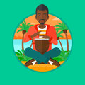 Man Playing Ethnic Drum Vector Illustration. Royalty Free Stock Photography - 77867747