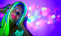 Beautiful Young Woman In Neon Light Stock Images - 77869584