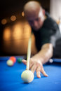 Young Man Playing Pool Game In Pub Royalty Free Stock Photos - 77870608