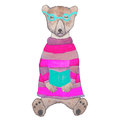 Hipster Teddy-bear In A Knitted Sweater And Glasses Reading A Book. Royalty Free Stock Photography - 77872637