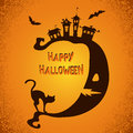 Halloween Scary Background With Moon, Black Cat And Bats Silhouettes. Royalty Free Stock Photos - 77877148