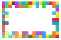 Frame From Colored Plastic Building Blocks, 3D Rendering Stock Photo - 77879990