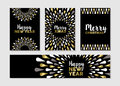 Christmas And New Year Set Of Gold Card Designs Royalty Free Stock Photography - 77881067