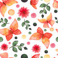 Watercolor Red And Yellow Butterflies, Flowers And Green Dots Repeat Pattern Stock Photos - 77883733