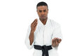 Fighter Performing Karate Stance Royalty Free Stock Photo - 77886575