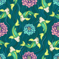Seamless Japan Pattern With Koi Fish Carp  Background. Royalty Free Stock Images - 77890969