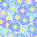 Seamless Embroidered Texture Of Abstract  Blue Flowers Stock Photos - 77893813