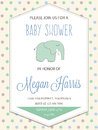 Delicate Baby Boy Shower Card With Little Elephant Stock Photography - 77897292