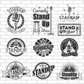 Standup Comedy Show Vector Labels Design Royalty Free Stock Photography - 77898987