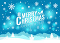 Merry Christmas And Happy New Year Card - Christmas Tree And Snow Snowman On Blue Light Background Vector Design Royalty Free Stock Images - 77908299
