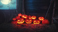 Spooky Halloween Background. Scary Pumpkin With Burning Eyes And Stock Photo - 77911460