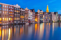 Night Amsterdam Typical Houses, Netherlands Stock Image - 77912021