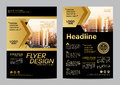 Gold Brochure Layout Design Template. Annual Report Flyer Leaflet Cover Presentation Modern Background. Illustration Vector In A4 Royalty Free Stock Image - 77917556