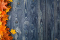 Autumn Background With Colour Leaves On Blue Boards Royalty Free Stock Photography - 77922707