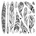 Boho Set With Feathers, Arrow And Minerals Stock Photos - 77930543