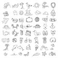 Set Doodles Elements Travel And Holiday. Hand Draw Icons Royalty Free Stock Photo - 77956895