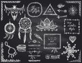 Chalkboard Hand Drawn Sketch Elements Set In Boho Style, Hippie, Indie Style, Dream Catcher, Necklace And Bracelets, Frames Royalty Free Stock Photography - 77963187