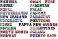Country Names In Colors Of National Flags - Complete Set. Letters N, O, P. Royalty Free Stock Image - 77964036