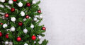 Decorated Christmas Tree With Colorful Balls Over White Brick Wa Royalty Free Stock Photography - 77964637