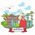 South Korea Travel Vector Card With Pagodas And Traditional Signs. Korea Journey Card With Korean Objects Royalty Free Stock Images - 77973659
