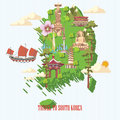 South Korea Travel Poster With Map, Pagodas, Tradition Clothes And Signs. Korea Journey Card With Korean Objects Royalty Free Stock Images - 77974939
