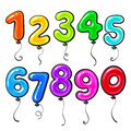 Number Shaped Bright And Glossy Colorful Balloons Stock Photos - 77979513