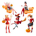 Beautiful Women In Halloween Costumes Fairy With Pumpkin, Vampire, Witch On Broom, Pirate And Devil. Set Of Cartoon Royalty Free Stock Image - 77980716