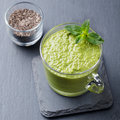 Matcha Green Tea Chia Seed Pudding, Dessert With Fresh Mint And Coconut. Healthy Breakfast Royalty Free Stock Photo - 77982925