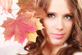 Lovely Autumnal Girl With Maple Leaves In Hand Royalty Free Stock Photo - 77995645
