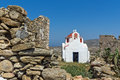 The Ruins Of A Medieval Fortress And White Church, Mykonos Island, Greece Stock Photos - 78008363