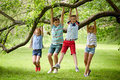 Happy Kids Hanging On Tree In Summer Park Stock Image - 78011071