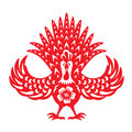 Red Paper Cut Front Chicken Rooster Zodiac Symbols Stock Images - 78011804