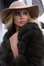 Gorgeous Woman With Blond Hair In Luxurious Fur Coat And Hat Stock Photography - 78024962