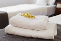 Bed With Fresh Towels Royalty Free Stock Photos - 78027558