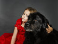 Beauty And The Beast. Girl With Big Black Water-dog. Royalty Free Stock Photography - 78039617