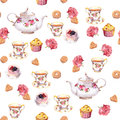 Teatime - Teapot, Tea Cup, Cakes, Flowers. Seamless  Pattern. Watercolor Royalty Free Stock Photos - 78059628