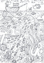 Under Water Sea Life Drawn In Line Art Style. Coloring Book Page Design Royalty Free Stock Image - 78065296