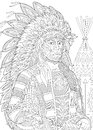 Zentangle Stylized Red Indian Chief Stock Photos - 78066383